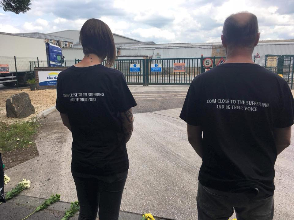 Activists at vigil from Bedfordshire Animal Save