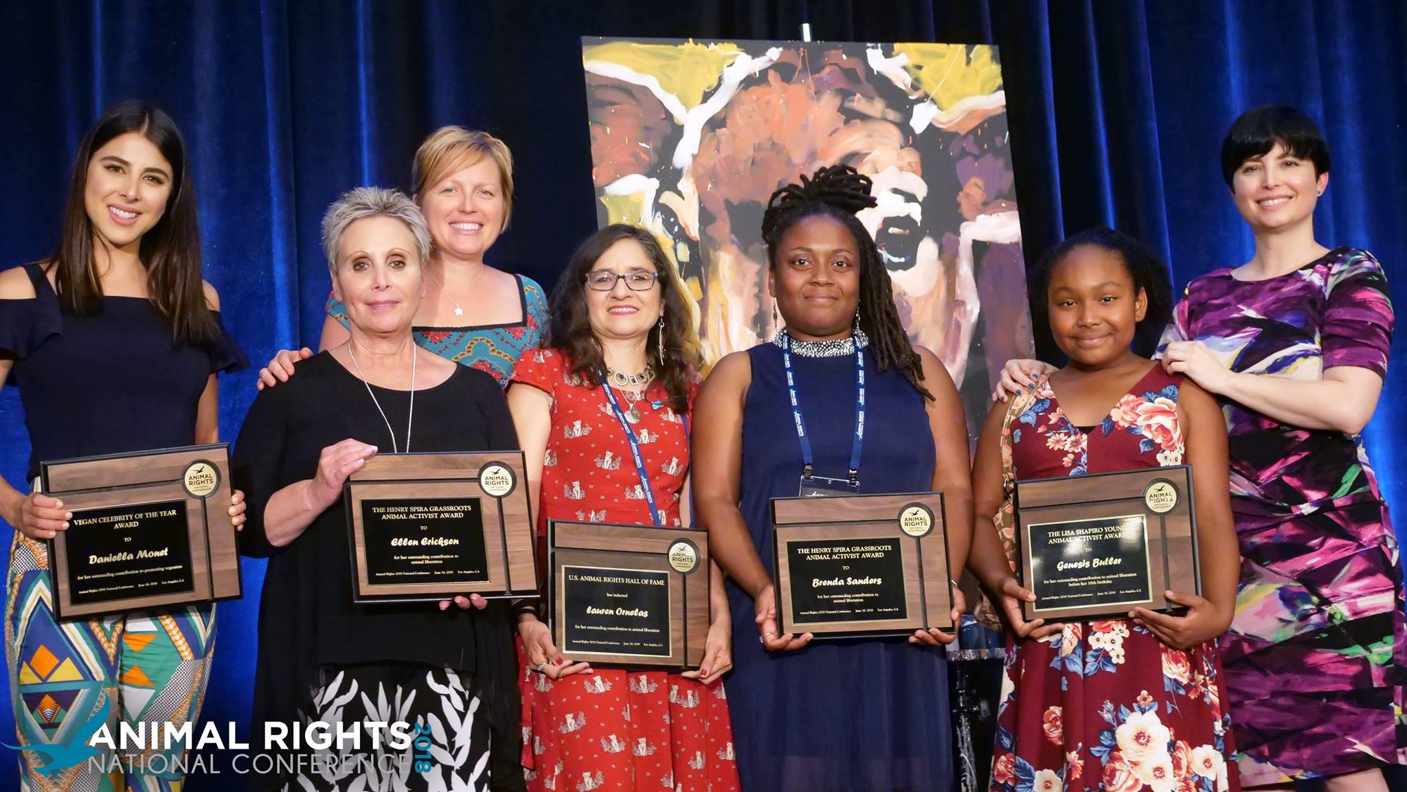 The Animal Rights National Conference 2018 award winners - Pictured left to right: Daniella Monet, Ellen Ericksen, Erica Meier, Lauren Ornelas, Brenda Sanders, Genesis Butler, Dawn L. Moncrief