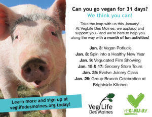 VegLife Des Moines Veganuary events