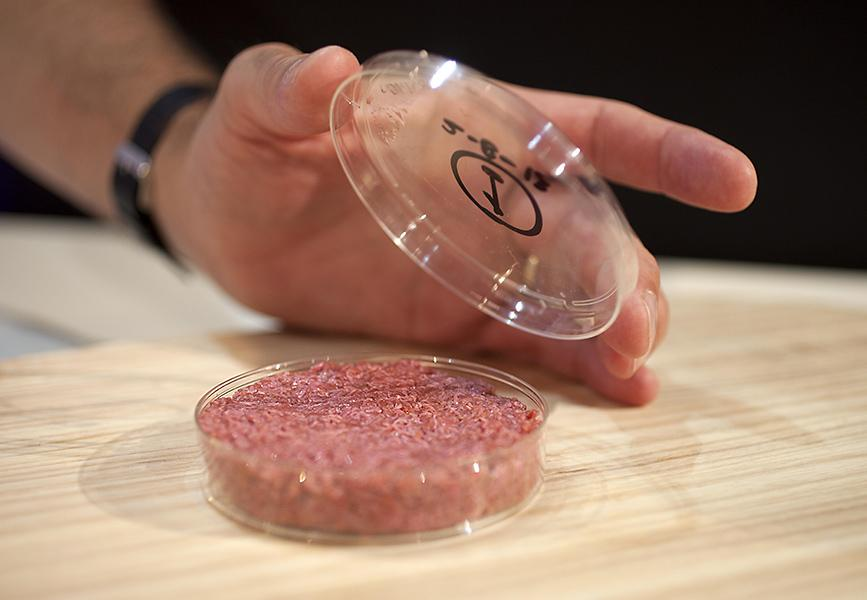 A burger made from Cultured Beef