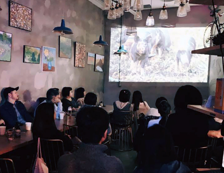 Screening of The Last Pig in vegan bakery in Hong Kong