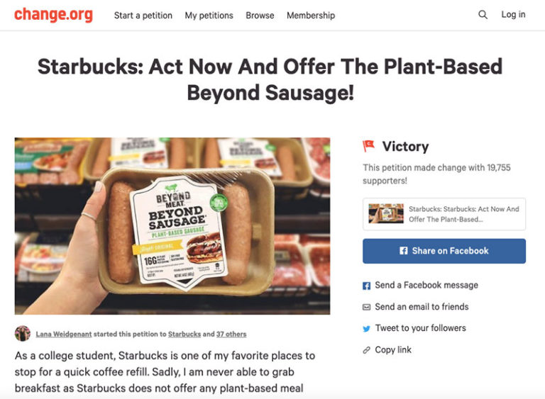 Vegan Petition to Starbucks
