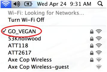 Vegan Message in WiFi Network